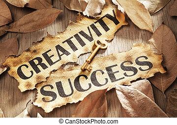 conceito, criatividade, tecla, sucesso