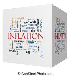 conceito, cubo, palavra, inflação, nuvem, 3d