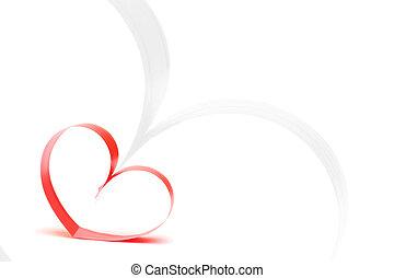 conceito, dado forma, valentines, branca, corações, fitas, dia