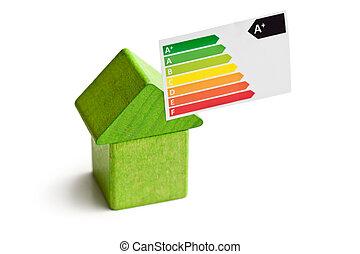 conceito, de, a, casa, energia, poupar