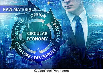 conceito, de, circular, economia, com, homem negócios