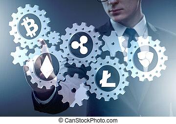 conceito, de, cryptocurrencies, com, homem, botões urgentes