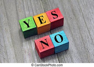 conceito, de, escolha, sim, ou, não