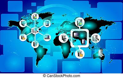 conceito, de, global, conectividade