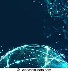 conceito, de, global, conexão internet, rede