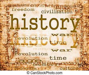 conceito, de, história, ligado, antigas, papel