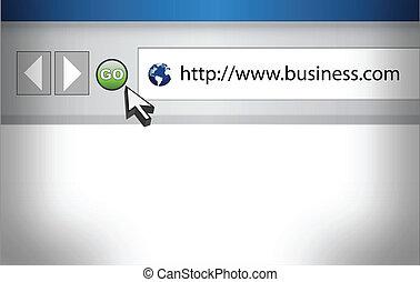 conceito, de, internet, navegador web