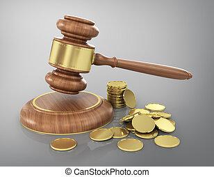 conceito, de, law., gavel madeira, com, ouro, moedas.