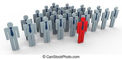 conceito, de, liderança, e, trabalho equipe