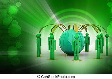 conceito, de, negócio global, rede