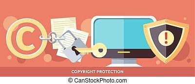 conceito, de, proteção copyright, em, internet