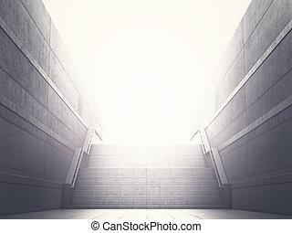 conceito, de, realização, carreira, growth., passos, guiando, para, a, light., 3d, ilustração
