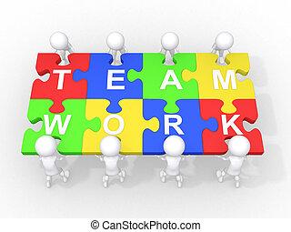 conceito, de, trabalho equipe, liderança, cooperação