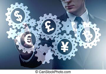 conceito, de, vário, principal, moedas correntes, incluindo, bitcoin