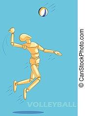 conceito, de, voleibol, esportes, com, madeira, human, mannequin