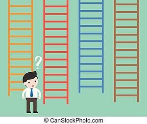 conceito, decisão negócio, confundido, escada, escolher, homem negócios, fazer
