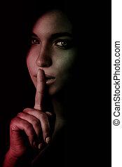 conceito, dedo, -, segredo, shhh, lábios, sobre