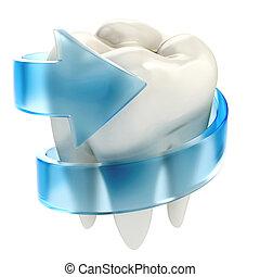 conceito, dentes, proteção, 3d