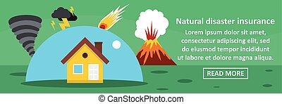 conceito, desastre natural, horizontais, bandeira, seguro
