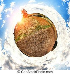 conceito, desenho, com, pequeno, agricultura, planet., natureza, fundo