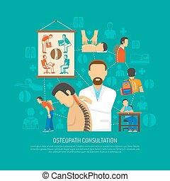 conceito, desenho, osteopatia