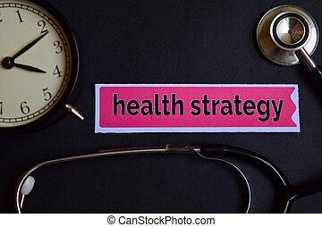 conceito, despertador, estratégia, papel, saúde, cuidados de saúde, impressão, pretas, inspiration., stethoscope.