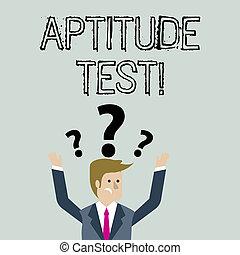 conceito, determinar, texto, confundido, aptidão, habilidade, test., pergunta, braços, acima, marcas, seu, capacidade, head., significado, projetado, demonstrar, particular, levantamento, ambos, s, homem negócios, letra