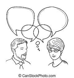 conceito, diálogo, comunicação negócio, ilustração, mão, vetorial, human, entre, desenhado, woman., homem