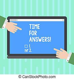 conceito, dilema, apontar, dar, cor, texto, direita, em branco, tabuleta, escrita, answers., negócio, screen., hu, momento, mãos, lados, ambos, palavra, solução, análise, tempo, problema, ou