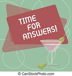 conceito, dilema, dar, cor, texto, borda, direita, em branco, coquetel, escrita, answers., enchido, negócio, space., vidro, momento, azeitona, palavra, solução, tempo, problema, ou, vinho