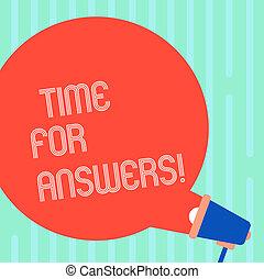 conceito, dilema, dar, cor, texto, direita, em branco, saída, escrita, fala, megafone, bolha, answers., negócio, momento, vinda, announcement., palavra, solução, ou, tempo, problema, redondo