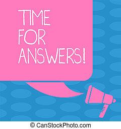 conceito, dilema, dar, cor, texto, photo., direita, em branco, silueta, escrita, fala, megafone, bolha, answers., negócio, quadrado, momento, palavra, solução, tempo, problema, ou