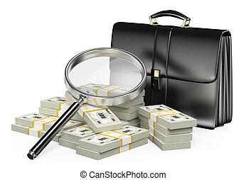 conceito, dinheiro, olhar vidro, magnificar, 3d
