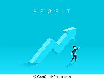 conceito, direction., negócio, sucesso, mostrando, símbolo, crescimento, seta, homem negócios, achievement., cima