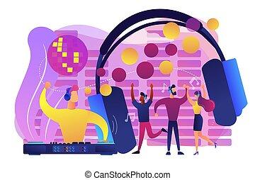 conceito, discoteca, vetorial, illustration., silencioso