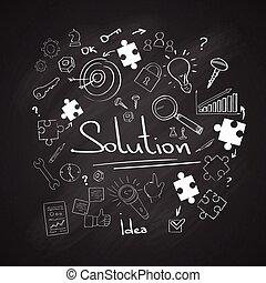 conceito, doodle, quebra-cabeça, giz, pretas, tábua, branca,...