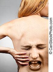 conceito, dor, costas