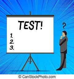 conceito, durabilidade, texto, avaliar, systemic, em branco, escrita, test., ficar, marca pergunta, ao lado, acima, cabeça, seu, negócio, screen., proficiência, palavra, acadêmico, fiabilidade, homem negócios, procedimento