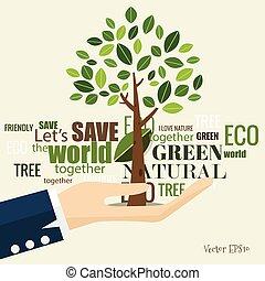 conceito, eco, árvore, ilustração, experiência., vetorial, ecologia, friendly.