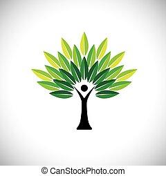 conceito, &, eco, -, folhas, árvore, mão, vetorial, verde,...