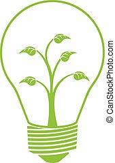 conceito, eco, luz, ecologia, verde, bulbo