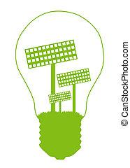 conceito, eco, luz, símbolo, interior., bulbo, energia...