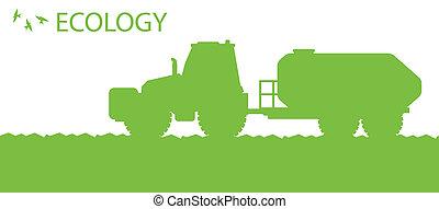 conceito, ecologia, orgânica, cartaz, vetorial, fundo, fertilizante, agricultura, trator