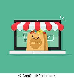 conceito, ecommerce, comprar, ordem, vetorial, online, loja linha