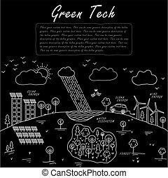 conceito, ecossistema, mão, vetorial, pretas, doodle, sustentável, desenhado, linha, branca