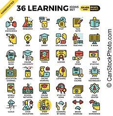 conceito, educação, aprendizagem, ícones