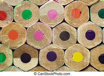 conceito, educação, coloridos, lápis