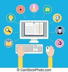 conceito, educação, online
