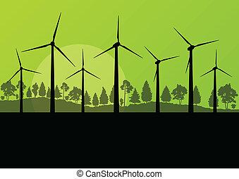 conceito, electricidade, verde, ilustração, vetorial, ecologia, fundo, geradores, capim, vento