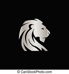 conceito, elegante, leão, vetorial, desenho, crista, prata